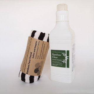 竹のやわらかフェイスタオル&無添加洗剤Bamboo Clearギフトセット