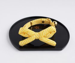 江戸猫首輪リボン付き<br>(黄色の鹿の子)