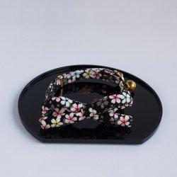江戸猫首輪リボン付<br>(大輪の桜・黒)