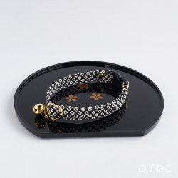 江戸猫首輪<br>(黒の鹿の子)