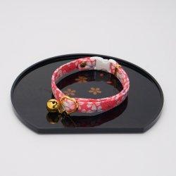 江戸猫首輪<br>(大輪の桜・ピンク)