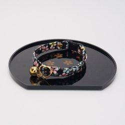 江戸猫首輪<br>(大輪の桜・黒)