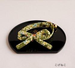 江戸猫首輪リボン付き<br>(大輪の桜・黄緑)