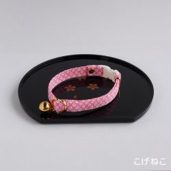 江戸猫首輪<br>(桃の鹿の子)
