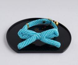 江戸猫首輪リボン付き<br>(水の鹿の子)
