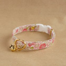 大人っぽい花柄の首輪<br>(ピンク)