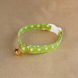 ポップカラーの星柄の首輪<br>(グリーン)