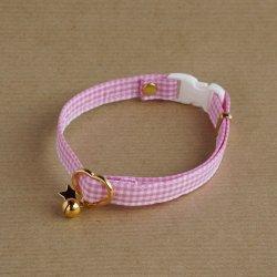 ギンガムチェックの首輪(ピンク)
