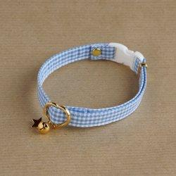 ギンガムチェックの首輪(ブルー)