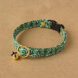 ★こげねこオリジナルプリント使用★唐草の首輪(緑)