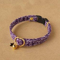 ★こげねこオリジナルプリント使用★唐草の首輪(紫)