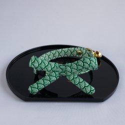 江戸猫首輪リボン付き<br>(緑の青海波)