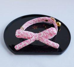 江戸猫首輪リボン付き<br>(白地に桜)