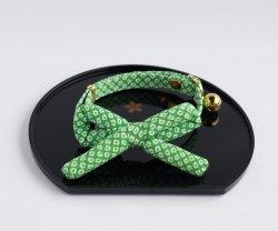 江戸猫首輪リボン付き<br>(緑の鹿の子)