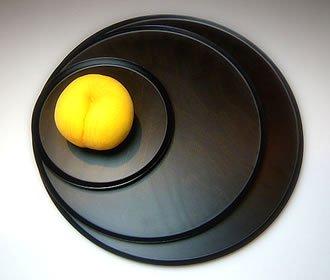 満月をイメージした円形トレイ・Lサイズ #1111 Full Moon_L (black)