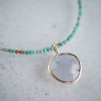 Chalcedony pendant (Turquoise beads neck)