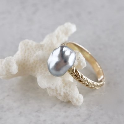 Tahitian baroque pearl laurel ring