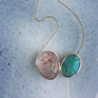 Turquoise & strawberry quartz pendant