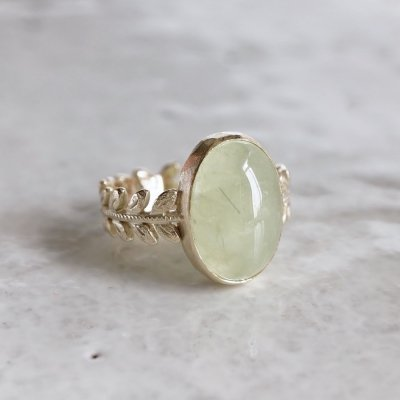 Prehnite rose leaf ring