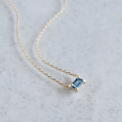 Aquamarine octagon necklace