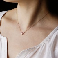 Pink sapphire stardust necklace