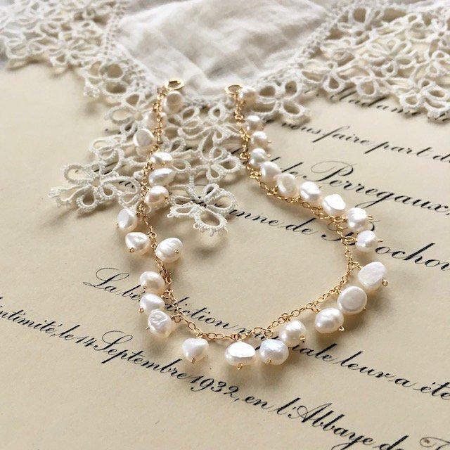 パールのつぶつぶブレスレット| pearl bracelet(K14GF)