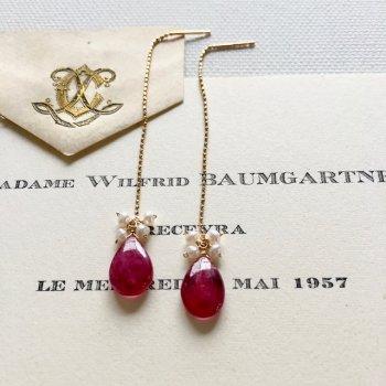 ルビーとケシパールのアメリカンチェーンピアス| Ruby & pearl pierce(K10YG)