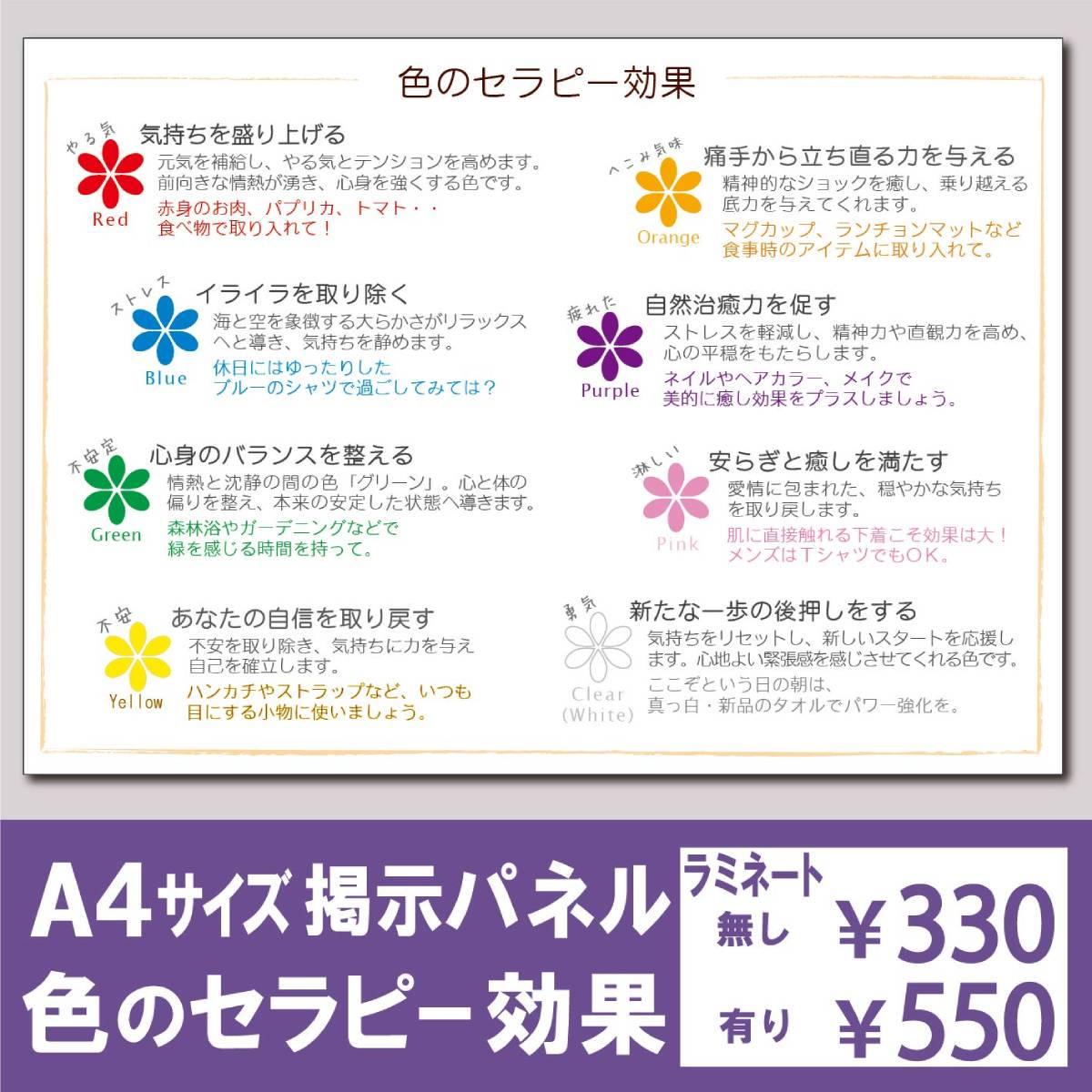 セラピー掲示パネル「色の効果」A4サイズ版