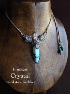 ヒマラヤ水晶(インド・ヒマラヤ産)&ラブラドライト(アフリカ産)&ムーンストーン(インド産)/ネックレス