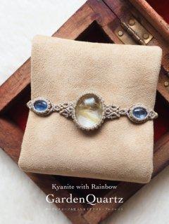 ガーデンクォーツ(ミャンマー産)&カイヤナイト(虹入り)(ネパール産)/ブレスレット