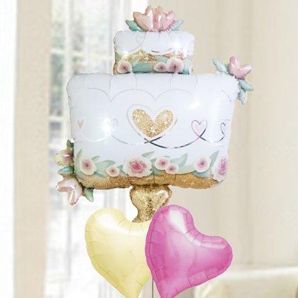 [バルーン電報][結婚式][送料無料] グリッターウエディングケーキ&アイボリーハート 人気のバルーンギフト