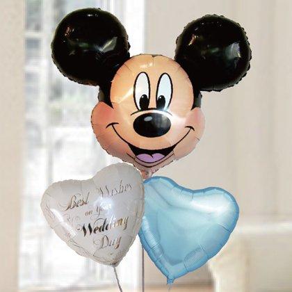 [バルーン][電報][結婚式][送料無料][ ディズニー]ミッキー&ウエディングバルーン 人気のバルーンギフト