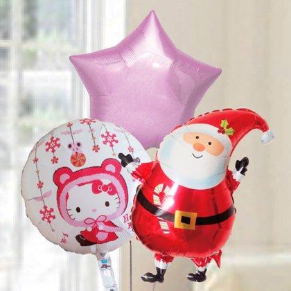 [バルーン][電報][キティ][送料無料][クリスマス]サンタ&キティ クリスマスバルーン 人気のギフト