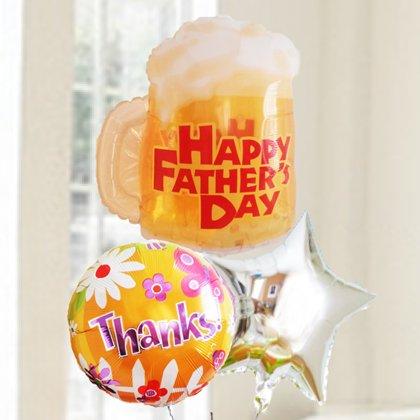 [バルーン][電報][父の日][送料無料] 父の日 ビールジョッキ&サンクス 人気のバルーンギフト