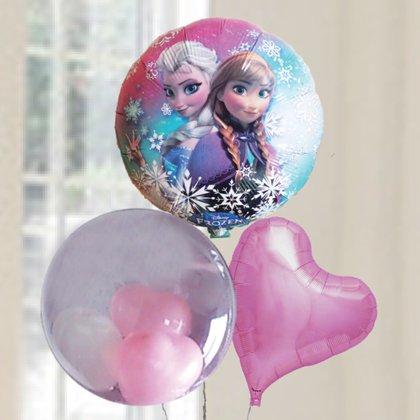 [バルーン][電報][結婚式][送料無料][ ディズニー]アナと雪の女王&ピンク 人気のバルーンギフト 3,800円(内税)