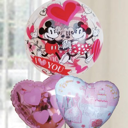 [バルーン][電報][結婚式][送料無料][ ディズニー] ミッキーとミニーのバブルバルーン&ピンクハート 人気のバルーンギフト 4,800円(内税)