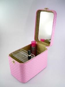 メイクボックス、コスメボックス キルト33cmピンク  化粧入れ、メークボックス
