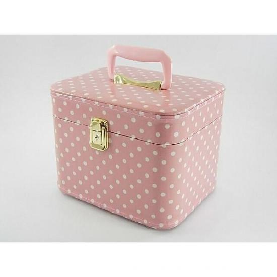 ドット柄26cmヨコ ピンク 化粧ケース。日本製。