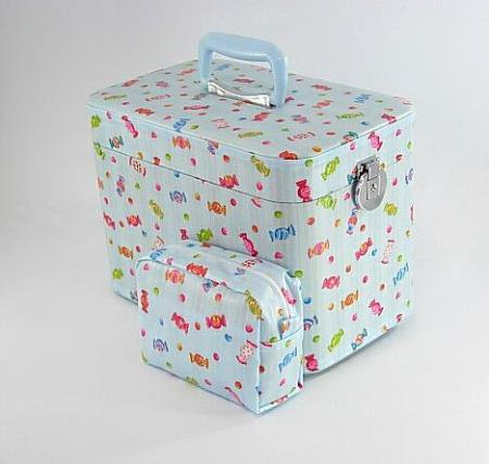コスメボックス、キャンディー33cmスカイ お化粧入れ、メークボックス。日本製。