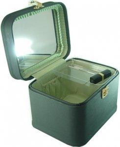 メイクボックス 水シボ26cmヨコ ブラックお化粧入れ。