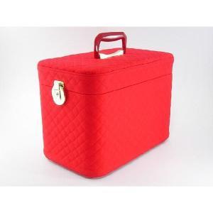 メイクボックス、コスメボックス キルト33cmレッド 化粧入れ、メークボックス