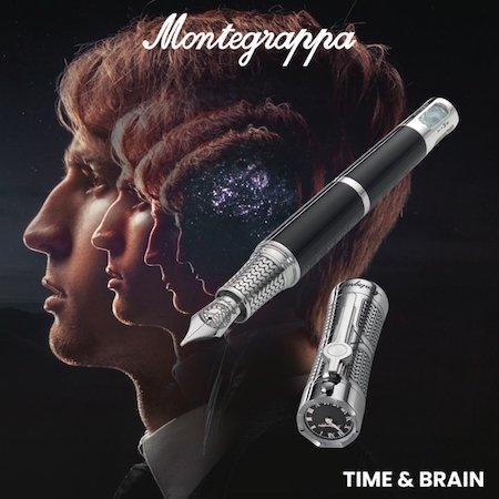 モンテグラッパ 万年筆 限定品 タイム&ブレイン(時間と脳) スターリングシルバーメインイメージ