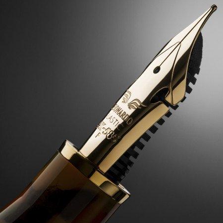 レオナルド 万年筆 モーメント ゼロ グランデ 限定品 アルレッキーノ ゴールドトリム エラスティックファインニブ04