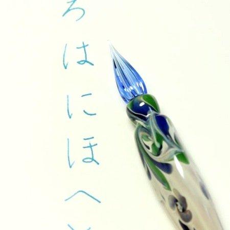 ガラスペン 花(青) 山田妙子作03