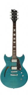 Reverend MRAYHBTFM Manta Ray HB Electric Guitar, Turquoise Flame Maple