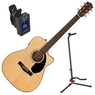 Fender CC-60SCE Solid Top Concert Acoustic-Electric Guitar Bundle ギター