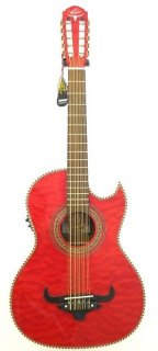 Oscar Schmidt Model OH32SEQTR Trans Red Acoustic Electric Bajo Quinto w/Bag -NEW ギター