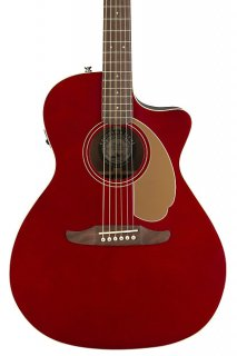Fender Newporter Player Acoustic Electric Guitar - Candy Apple Red ギター