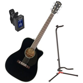 Fender CC-60SCE Black Solid Top Concert Acoustic Electric Guitar w/ Stand and Tuner ギター