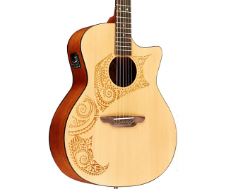 Luna Guitars Oracle Tattoo Acoustic-Electric Guitar with USB ギター